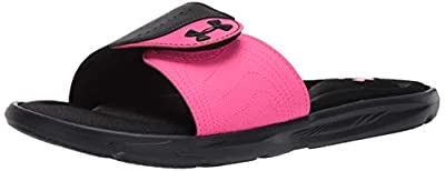 Under Armour Women's Ignite IX SL Slide Sandal, Black (002)/Pink Surge, 10 M US