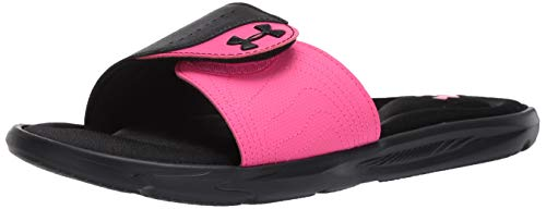 Under Armour Women's Ignite IX SL Slide Sandal, Black (002)/Pink Surge, 9 M US