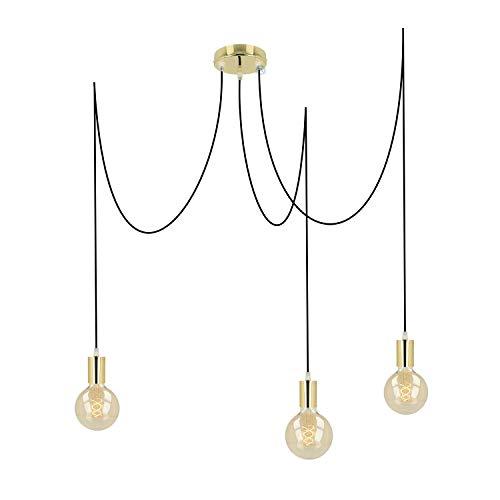 Pendelleuchte 3 flammig messing/gold metall E27 mit Textilkabel DIY höhenverstellbare Deckenleuchte im Vintage design   Hängelampe Wohnzimmerlampe Deckenbeleuchtung Hängeleuchte (Schwarz, 3x3 Meter)