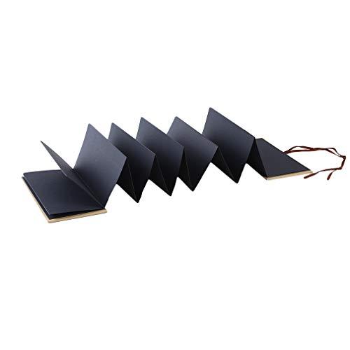 Hengxing Acordeón plegable plegable álbum de recortes para aniversario de boda, negro, 12,7 cm
