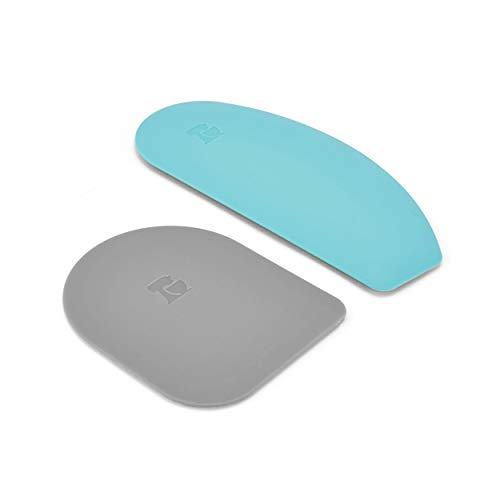 KitchenAid Gourmet Bowl Scraper, Set of 2, Aqua Sky/Sorm Grey