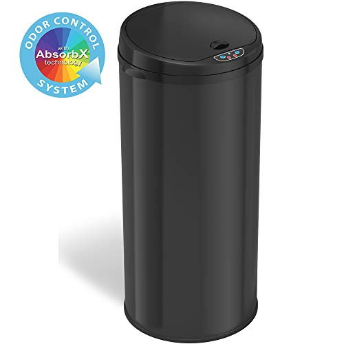 iTouchless with Odor Control System Round Sensor Garbage Bin for Kitchen or Office 13 Gallon Automatic Trash Can, Onyx Black