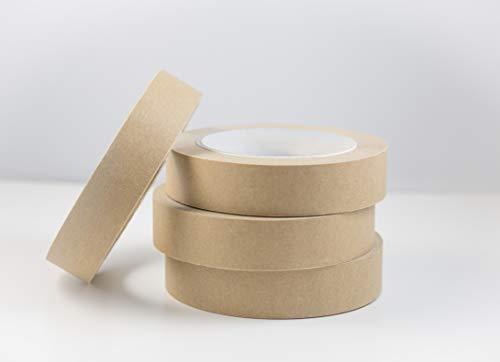 Cinta de papel kraft autoadhesiva reciclable de kite ecológico, marrón, 25 mm x 50m, paquete de 4