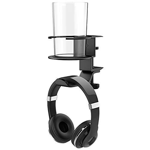 ヘッドホンスタンド ATiC ヘッドホンハンガー 360度回転 アルミ製 クランプ式ケーブル/イヤホン/ヘッドホン/小物等まとめ掛け整理 ドリンクホルダー備え 装着簡単 Sony Audio-Technica Gaming PS5 PS4 Playstation Panasonic BOSE AKG KingTopなど対応 Black