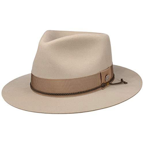 Stetson Sombrero de Lana Fredericktown Fedora Mujer/Hombre - Made in USA Bogart Fieltro Hombre con Forro, Banda grosgain otoño/Invierno - M (56-57 cm) Beige