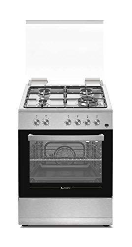 Candy CGG655SI/E - Cocina libre instalación 60cms - Encimera gas 4 zonas y horno gas 55L - Color Silver - Clase A