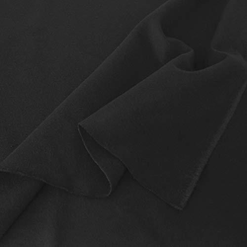 TOLKO Baumwollstoffe Meterware | Lichtdichter Bühnen-Molton Stoff für Verdunklungsvorhänge | 300cm breit | 2mm dick | zum Nähen und Dekorieren (Schwarz) | schwer entflammbar nach DIN B1
