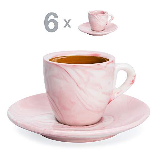 Hausmann & Söhne Espresso Tassen dickwandig | Set 12-TLG | 6er Set Pastell rosa Marmor Tassen mit Untertassen | Porzellan | Tasse 80ml | Espresso Tassen Set mit Untersetzer | Geschenkidee