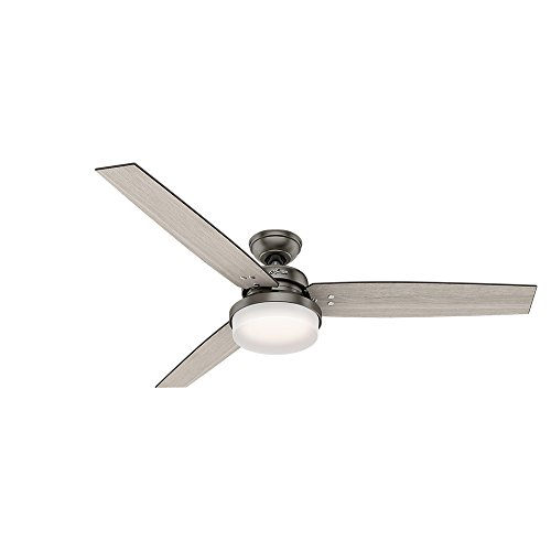 Hunter Sentinel Indoor Ceiling Fan with LED Light and Remote Control, 60', Brushed Slate