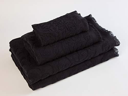 Flor de Algodón HONORIS Juego de toallas baño, Algodón, negro, 30x50, 50x90, 100x140
