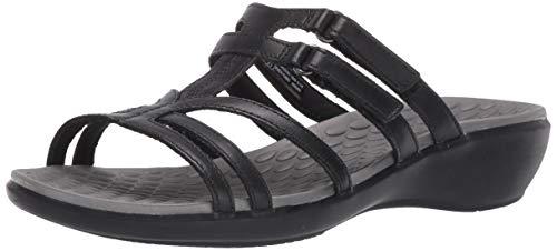CLARKS Women's Sonar Pilot Sandal, Black Leather, 11 Medium US