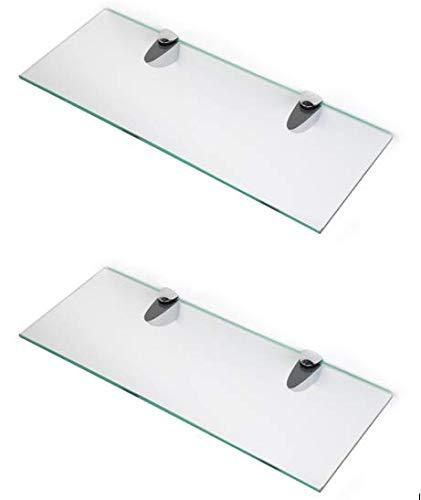 BSM Marketing Estantes de cristal endurecido de 6 mm de grosor con gran estante de acabado cromado que soporta 600 mm, 500 mm y 400 mm (2, 400 mm x 150 mm)
