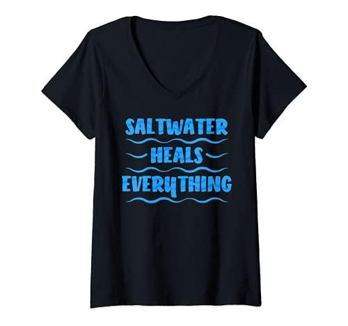 Mujer El agua salada de la costa sana todo las vacaciones en la playa Camiseta Cuello V
