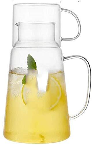 Tetera de cristal jarra de agua de cristal – Botella de agua fría creativa para agua fría y caliente aplicabilidad jarra de cristal jarra de agua de 1300 ml juego de té