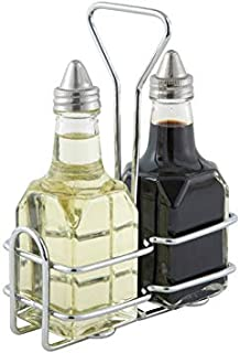 Winco G-104S, 5.4'' x 2.6'' Oil And Vinegar Cruet Set With Stainless Steel Chrome Plated Rack And Two 6 Oz. Square Glass Bottles, Salad Dressing Bottles