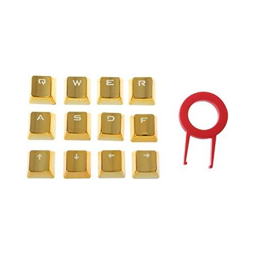 Adali-Buona qualità 12 KeyCaps per Tastiera Tecnica con Rivestimento in Lega di tiraggio KeyCap PBT DIY Tempo di utilizzo Lungo (Color : Gold)