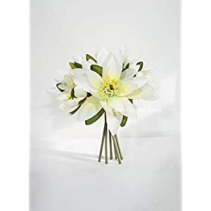 "Sweet Home Deco 9"" Silk Lotus Flower Bouquet (6 Stems/6 Flower Heads) for Wedding Home Decoration (White)"