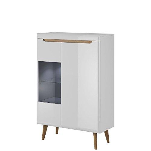 Furniture24 Vitrine NORDI Vitrinenschrank Standvitrine mit LED Beleuchtung (Weiß/Weiß Hochglanz)