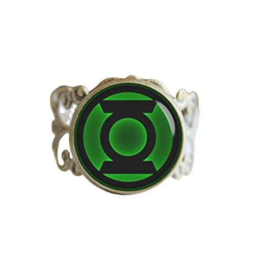 Linterna verde superhéroe anillo ajustable, plata antigua o bronce antiguo, joyería fresca