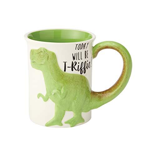 Enesco 6000548 Our Name Is Mud - Taza de café esculpida (gres), multicolor, T-Riffic Tea Rex, Verde, 16 oz, 1