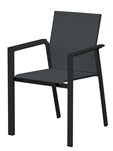 Juego de 4 sillas de bar y jardín de aluminio con asiento de textileno negro con reposabrazos, sillas para exteriores apilables