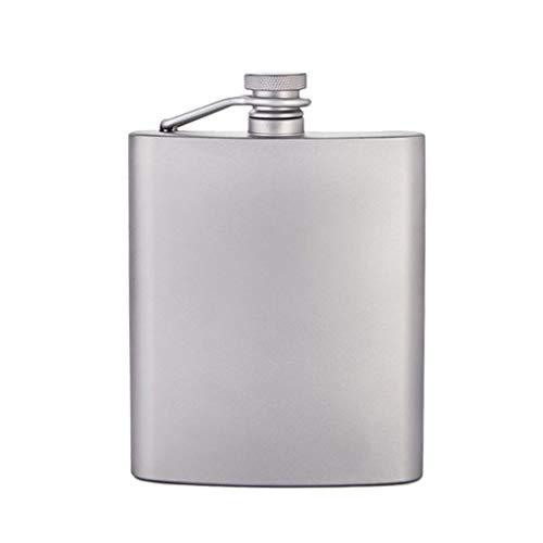 Cruche en titane pot en titane léger extérieur portable fiole de poche en titane pur portable blanc petite fiole de la hanche (Color : SILVER, Size : 13 * 9.4 * 2.7CM)
