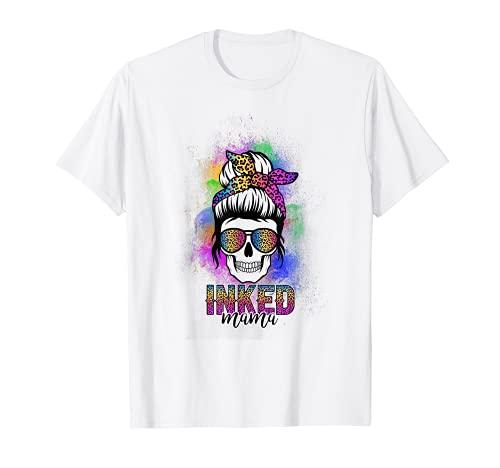 Inked Mama Tattoo Lover Tattoo Artist Leopard Print Skull T-Shirt