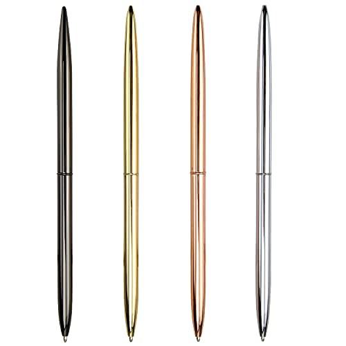 Bolígrafo de 4 Piezas, bolígrafo de Metal con rotación de Dos Cabezas, Suministros de Oficina / Hotel, Tinta Negra, Privado o de Regalo (Negro, Oro Rosa, Oro, Plata)
