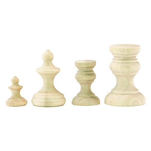 Vignette Finial Set by Tim Holtz Idea-ology, Various Sizes, 4 Wooden Pieces (TH93573)
