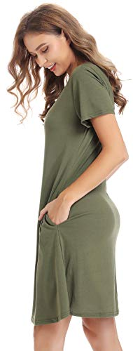 CakCton Womens Summer Dress Casual T-Shirt Loose Swing Dress with Pockets Knee Length Army Green