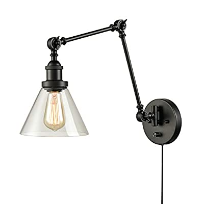 DANXU Swing Arm Wall Lamp Industrial Plug in Wall Mounted Wall Sconce with On/Off Switch