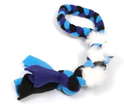 Genuine Dog Gear Real Rabbit Fur & Fleece Dog Rope Tug/Pull, Large