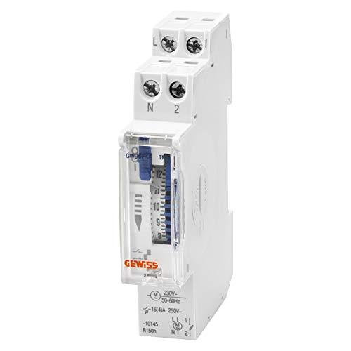 Interruptor horario analógico 24h, marca GEWISS - 1 contacto NA - 16A/230Vca - 1 Módulo DIN - con pila para cortes de alimentación - GWD6772