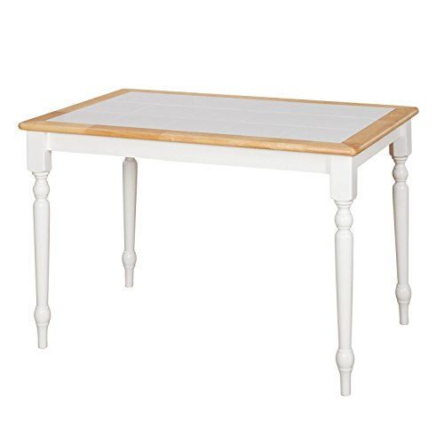 Target Marketing Systems The Tara Collection Traditional Style Tile Top Kitchen Dining Table, White/Natural