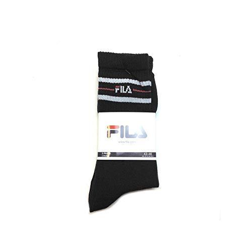 FILA 3 Paar Socken, Street Sport Socks Set, Stripes, Unisex 35-38,39-42,43-46: Farbe: Schwarz | Größe: 39-42 (6-8 UK)