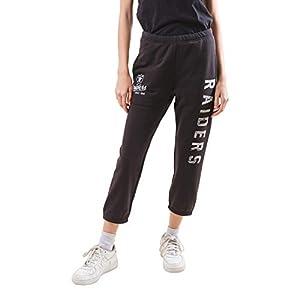 Ultra Game NFL Las Vegas Raiders Womenss Jogger Pants Capri Cropped Fleece Sweatpants, Black, Large by Icer Brands