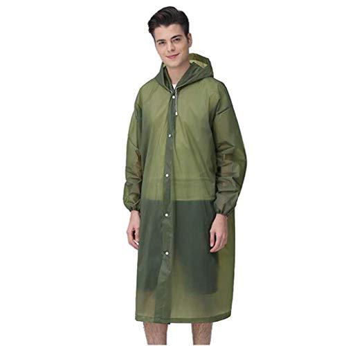 Qdesign Regen-Poncho for Erwachsene - Eva Wiederverwendbare Raincoat mit Kapuze bewegliche wasserdichte Regenkleidung for Männer Frauen Camping, Wandern, Außen (Grün)