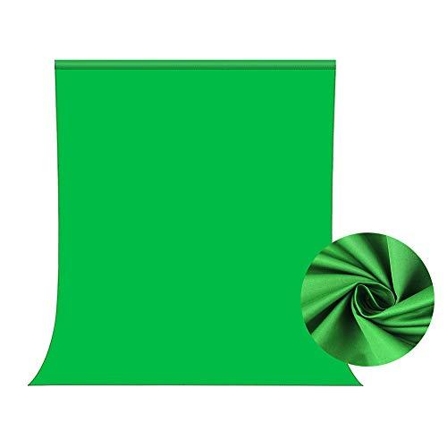 Toile de Fond Vert 1,5x2m, Bonvvie Greenscreen Photo Écran Vert, Fond de Photographie Résistant aux Plis Fond de Mousseline Chromakey Vert pour Vidéo, Télévision,Youtube,Zoom,Réunions en Ligne