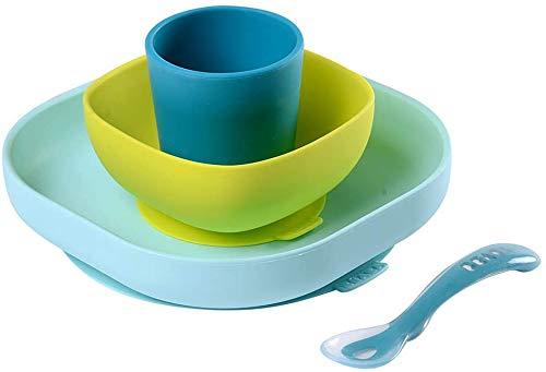 BÉABA - Silikon-Geschirrset - Teller und Schale mit Saugnäpfen + Löffel. Für Babies und Kleinkinder - 4 Teile - Blau