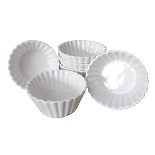 ToCi Dip-Schalen Set Weiß 6 Stück Spülmaschinenfest für Gewürze Snacks Saucen kleine Schälchen Ø9x4cm (Rund)