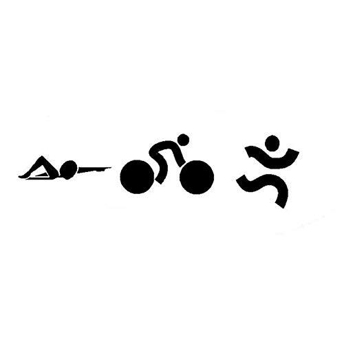 MCTYLI 17,4 x 4,7 cm stijlvolle triathlon sticker auto fiets zwemmen oppervlak vinyl sticker zwart/zilver