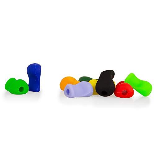 Ergonomische Schreibhilfen Deluxe für Stifte | Griffverdickung | Stiftehalter | Pack mit 9 Stück in verschiedenen Farben