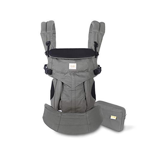SONARIN Premium Babytrage mit Aufbewahrungstasche,Ergonomisch,Sonnenschutz haube,für Neugeborene& Kleinkinder (0-48 Monate),Maximale Belastung 20kg,Baby Tragetasche und Kindertrage(DunkelGrün)