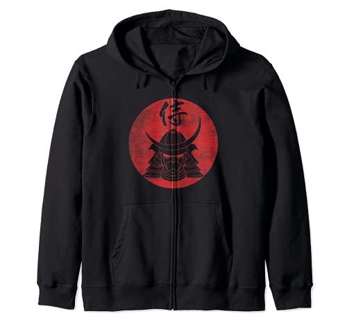 Elmo da guerriero Samurai Caratteri Kanji giapponesi - Nero Felpa con Cappuccio