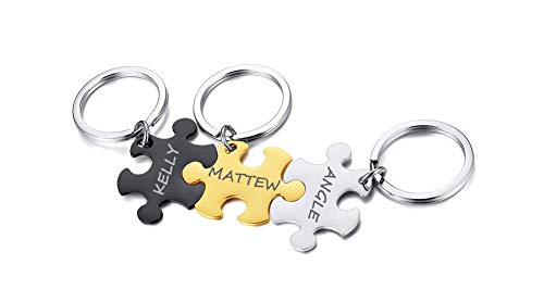 PJ JEWELLERY Customised Stainless Steel Matching Puzzle Pieces Charm Best Friend Friendship BFF Puzzle Keychain for 3,Silver,Free Engraving,Black,Gold and Silver