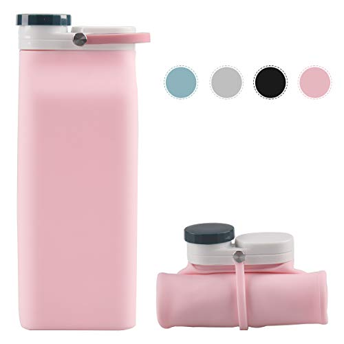 E-Senior Collapsible Foldable Water Bottle Silicone Lightweight Leak Proof BPA Free for Hiking Travel Outdoor Sports 20oz (Pink)