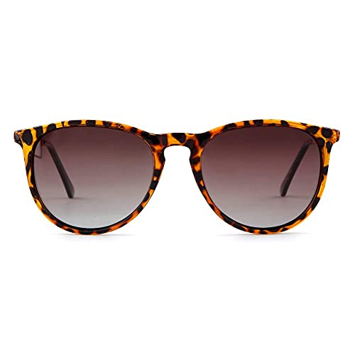 Gafas de sol polarizadas vintage para mujeres y hombres, diseño retro redondo, (Leopard Frame café Lens), Large