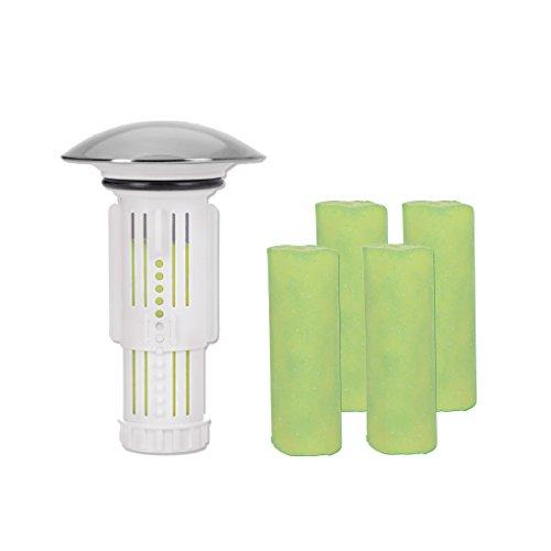 Abflussfee Waschbeckenstöpsel inkl. Verschlussstopfen und 5 Reinigungssteinen | Reinigungssteine für Abflüsse jeder Art, Abflussreiniger | inkl. Frische Duft [Apfel Aroma, grün]