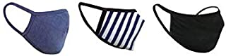 nestroots Unisex Washable Reusable Cotton Face Masks with Soft Earloop (Navy Blue, Black and Blue Stripe) - Pack of 3