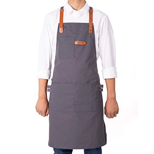 NEOVIVA Professional BBQ Aprons for Women Men Chef with Multi-Purpose Tool Pockets, Stylish Cooking Aprons for Kitchen, Restaurant, Bistro and Workshop with Adjustable Cross-Back Straps, Neutral Grey